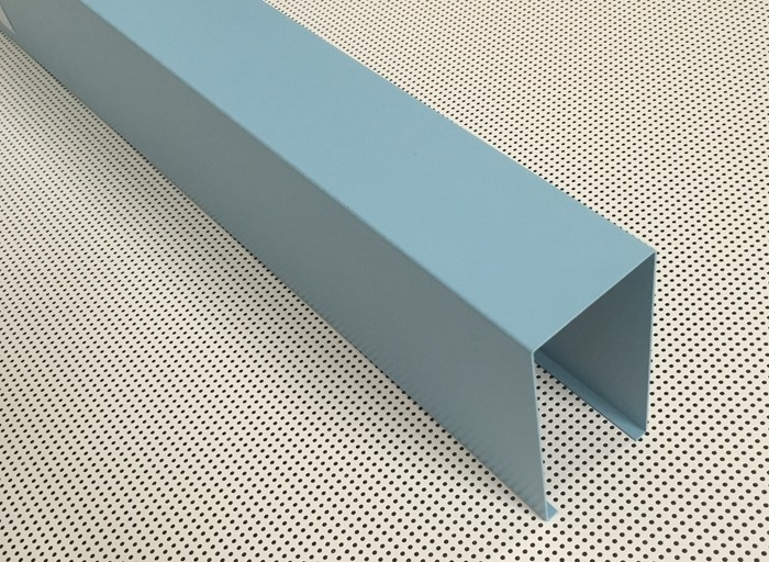 Blue Powder Coated Aluminum U- shaped Linear Metal Ceiling Width 50mm Height 100mm