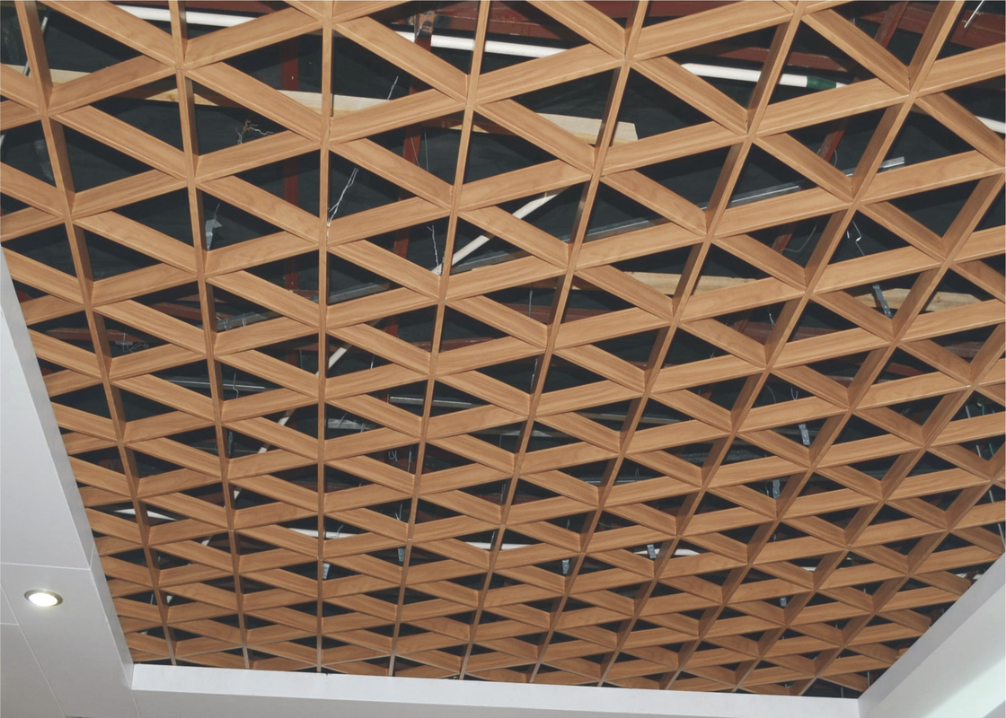durable Green Gallery Triangular Metal Grid Ceiling / decorative metal building materials