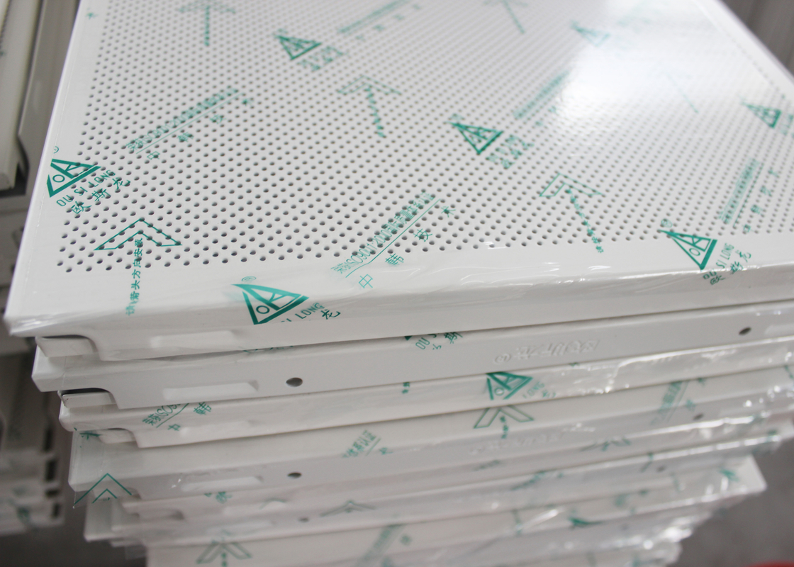 Square Perforated Metal Decorative Acoustic Ceiling Tiles Custom Coloured , ISO 9001