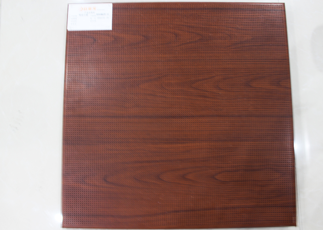 Wooden Drop Down Acoustical Ceiling Tiles / Commercial False Ceiling Tegular